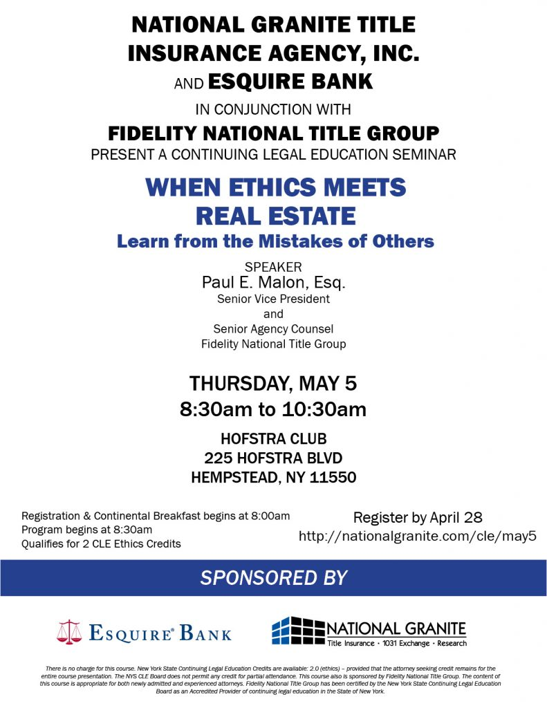 CLE May 5 Esquire Bank flyer